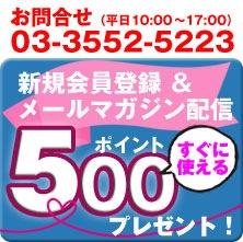 新規会員登録&メールマガジン希望500ポイントプレゼント