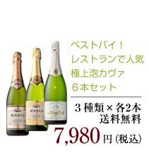【送料無料】ベストバイ!レストランで人気の極上泡カヴァ6本セット 7,980円(税込)