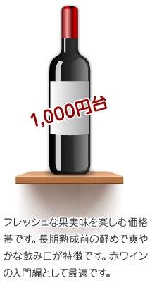 1,000円台フレッシュな果実味を楽しむ価格帯です。長期熟成前の軽めで爽やかな飲み口が特徴です。赤ワインの入門編として最適です。