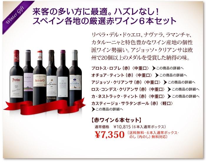 来客の多い方に最適。ハズレなし!スペイン各地の厳選赤ワイン6本セット