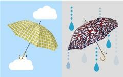 傘でソーシャルディスタンス
