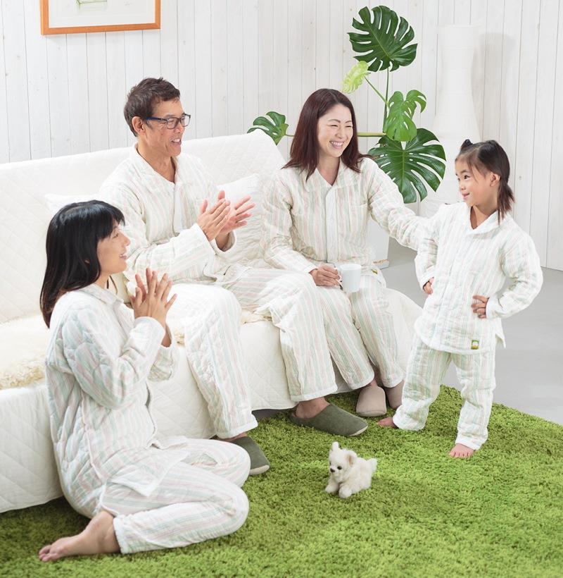 冬用パシーマパジャマ ストライプ柄 アトピーや敏感肌、睡眠にお悩みの方へ、家族みんなでぐっすり快眠!元気で笑顔になるパジャマ!