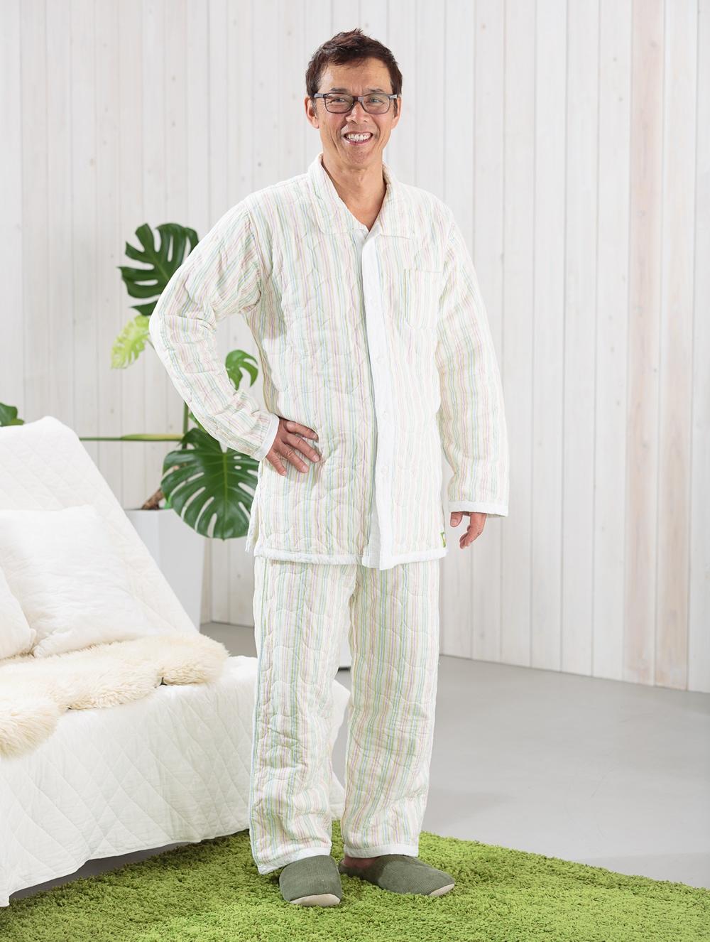 冬用パシーマパジャマ ストライプ柄 アトピーや敏感肌、睡眠にお悩みの方へ、ぐっすり熟睡!男女共通デザイン