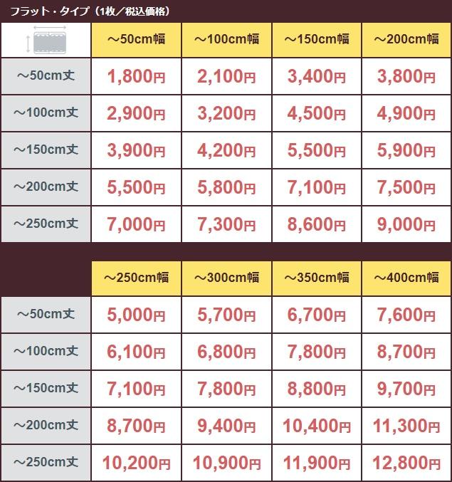 価格表(フラット・タイプ)