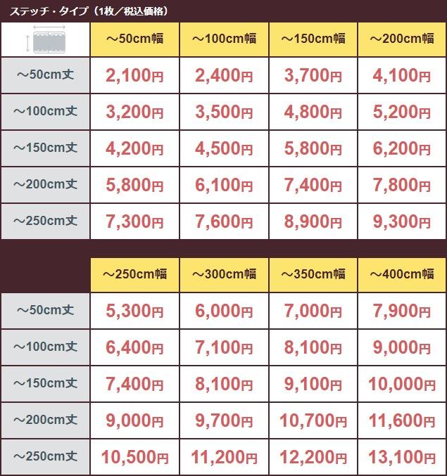 価格表(ステッチ・タイプ)