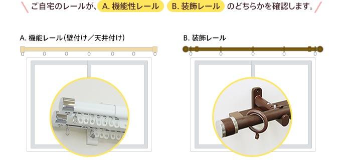 ご自宅のレールが、「A.機能性レール」「B.装飾レール」のどちらかを確認します。