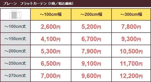 価格表(プレーン/フラット)