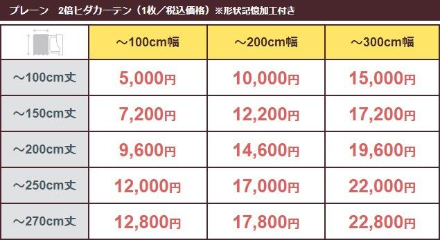 価格表(プレーン/2倍ヒダ)