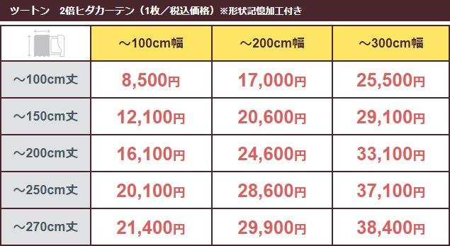 価格表(ツートン/2倍ヒダ)
