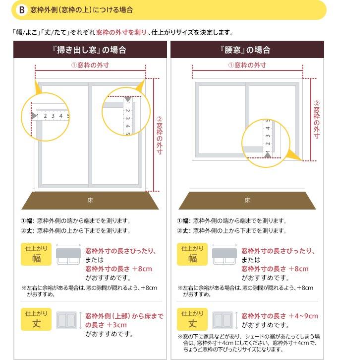 B.窓枠外側(窓枠の上)につける場合