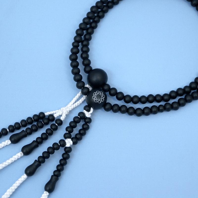 素挽き黒檀念珠(八葉マーク入)画像
