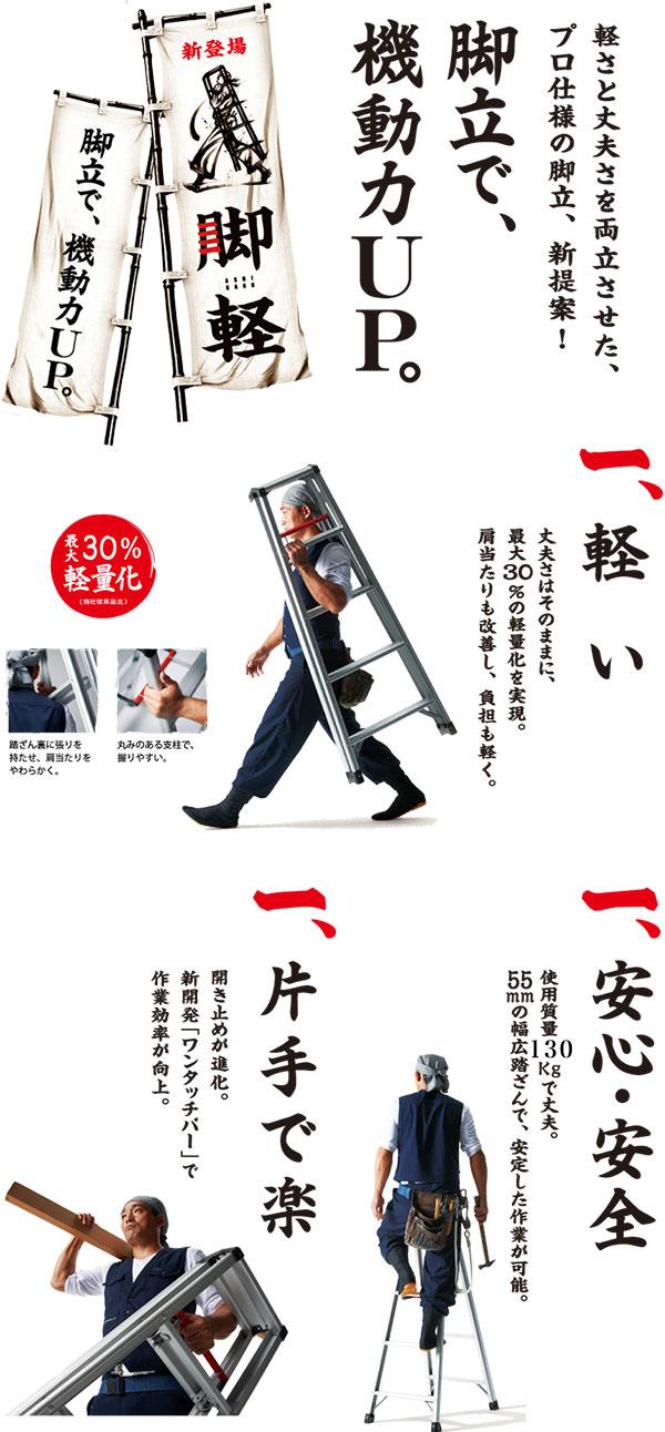 脚軽〜ASHIGARU〜軽さと丈夫さを両立させた、プロ仕様の脚立、新提案!「脚立で、機動力UP。」