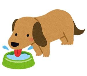 水を飲んでいる犬のイラスト
