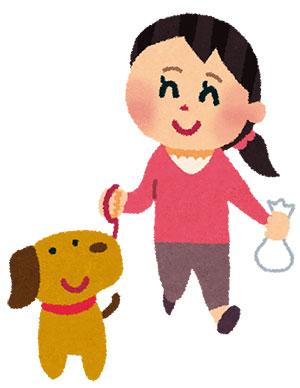犬の散歩をしている女性のイラスト