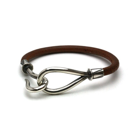 SINGLE LEATHER HOOK BRACELET Silver / Brown