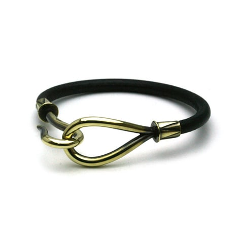 SINGLE LEATHER HOOK BRACELET Brass / black
