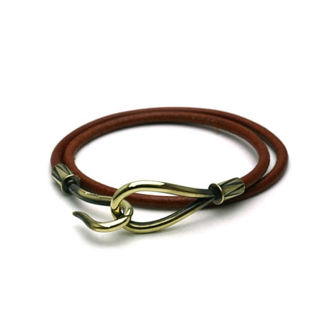 DOUBLE LEATHER HOOK BRACELET Brass / Brown