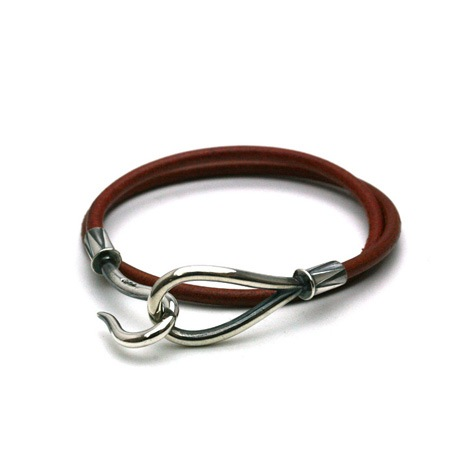 DOUBLE LEATHER HOOK BRACELET Silver / Brown
