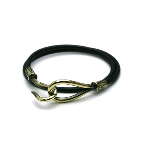 DOUBLE LEATHER HOOK BRACELET Brass / Black