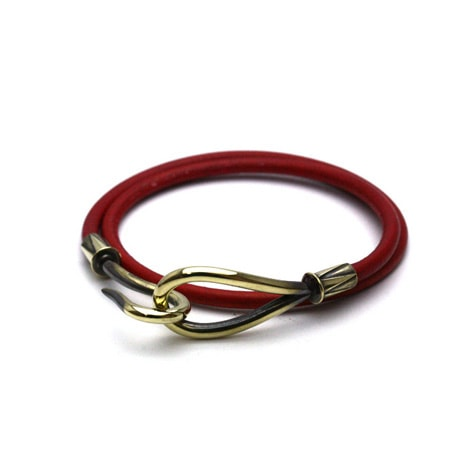 DOUBLE LEATHER HOOK BRACELET Brass / Red