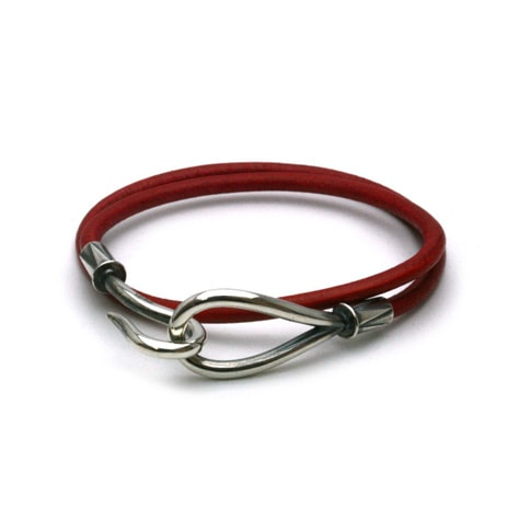 DOUBLE LEATHER HOOK BRACELET Silver / Red