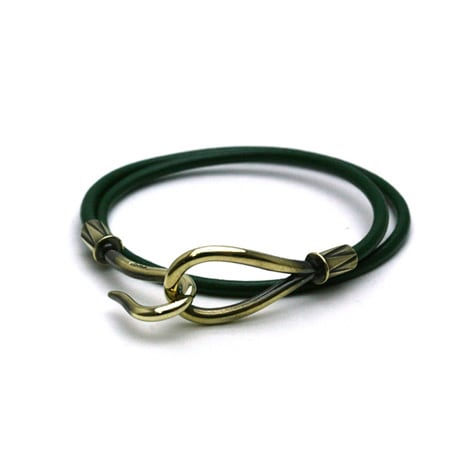 DOUBLE LEATHER HOOK BRACELET Brass / Green