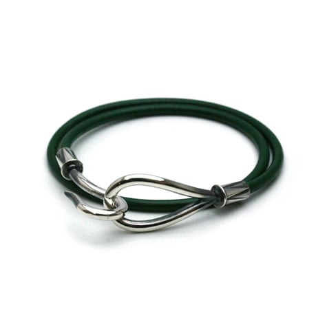 DOUBLE LEATHER HOOK BRACELET Silver / Green
