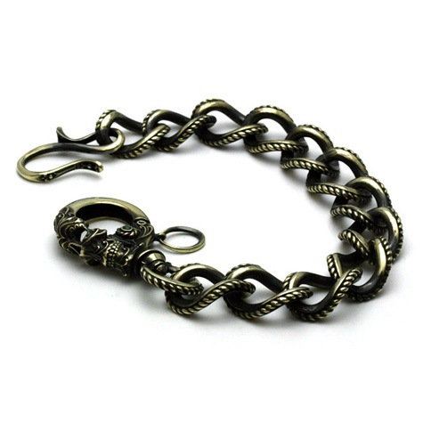 Gleed Skull Walletchain Brass / エメラルドグラス