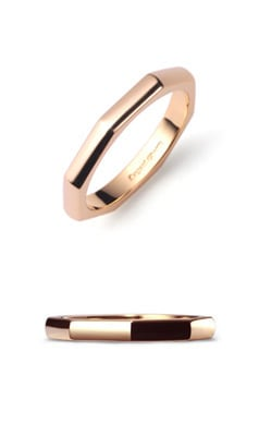 OCTAGON RING K18 PINK GOLD