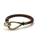 SINGLE LEATHER HOOK BRACELET Brass / Brown