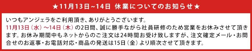 2019年11月13・14休業お知らせバナー