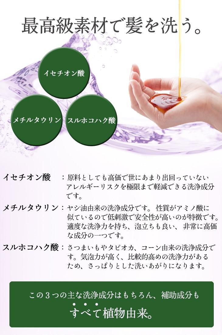最高級素材で髪を洗う。イセチオン酸・メチルタウリン・スルホコハク酸。「イセチオン酸」原料としても効果で世にあまり出回っていないアレルギーリスクを極限まで軽減できる洗浄成分です。「メチルタウリン」ヤシ油由来の洗浄成分です。性質がアミノ酸に似ているので低刺激で安全性が高いのが特徴です。適度な洗浄力を持ち、泡立ちも良い、非常に高価な成分の1つです。「スルホコハク酸」さつまいもやタピオカ・コーン由来の洗浄成分です。気泡力が高く、比較的高めの洗浄力があるため、さっぱりとした洗い上がりになります。この3つの主な洗浄成分はもちろん、補助成分もすべて植物由来。