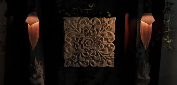 自然素材を使用したモダンでおしゃれな壁掛け照明です。