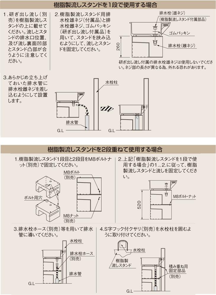 タキロンシーアイ(旧タキロン) 樹脂製流しスタンド ジュシスタンド 450D型説明画像