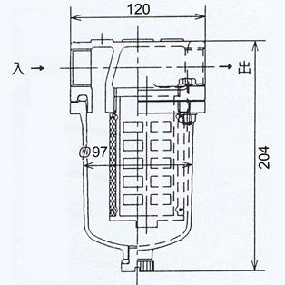 アイチポンぷ 砂こし器 25-T2の寸法図面