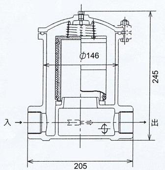 アイチポンぷ 砂こし器 32-T2の寸法図面