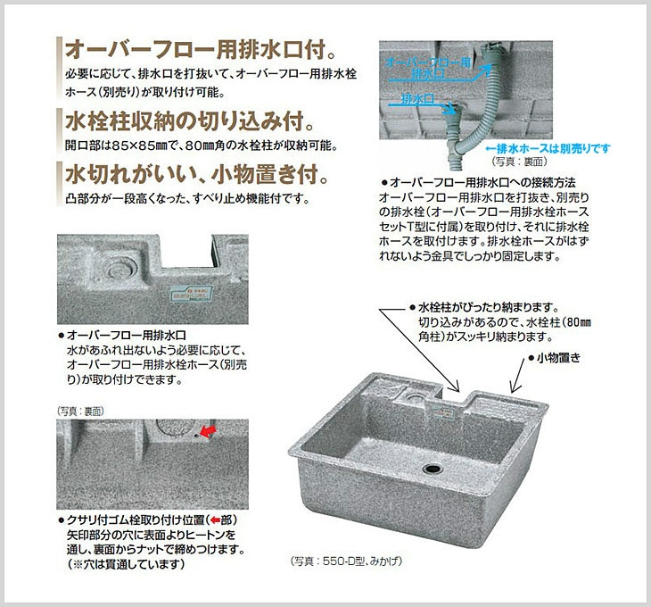 タキロンシーアイ(旧タキロン) 研ぎ出し流し デラックスタイプ 550-D型説明画像