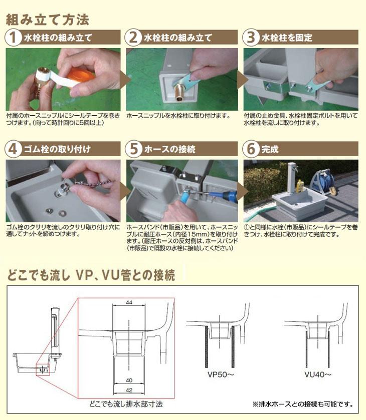 タキロンシーアイ(旧タキロン) 水栓柱付き流し どこでも流し 450G型 みかげイメージ画像4