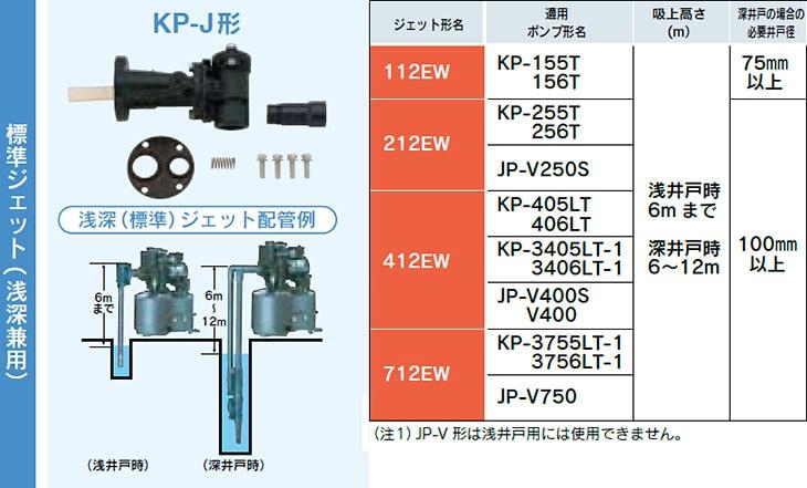 テラル 標準ジェット(浅深兼用) KP-Jシリーズ 対応表