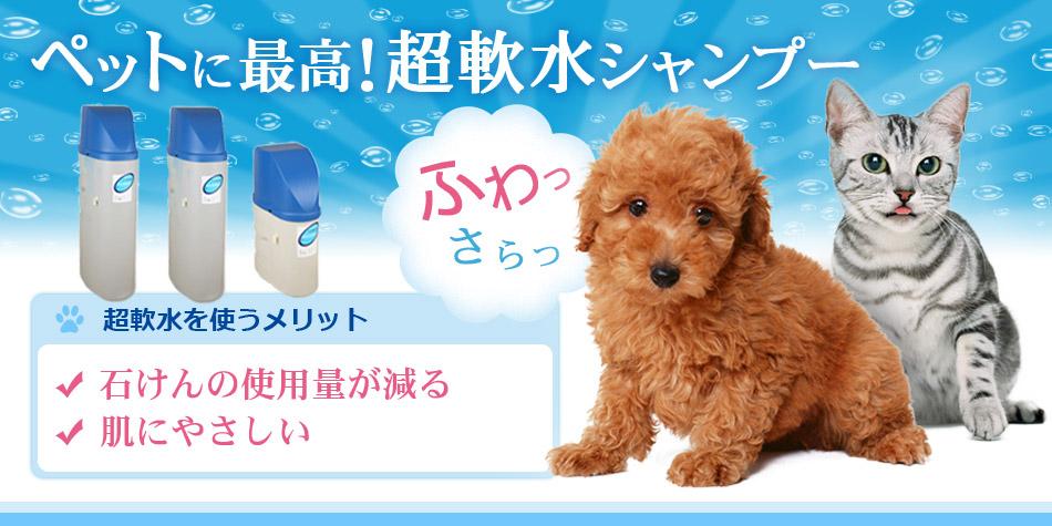 ペットに最高!超軟水シャンプー 超軟水を使うメリットは石鹸の使用量が減る。肌にやさしい