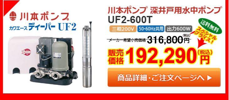 川本ポンプ UF2-600T カワエースディーパー 深井戸水中ポンプ