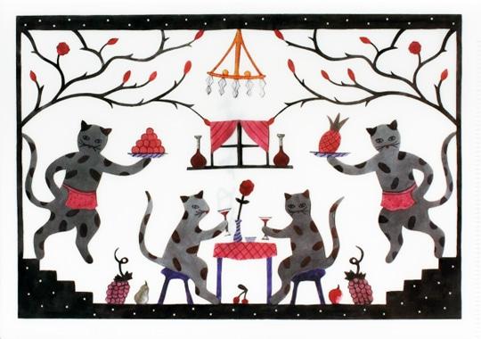 クリアファイル「猫のレストラン Cat Restaurant」