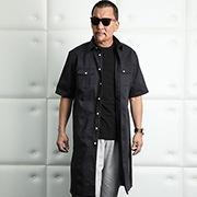 ATブラックコットンロングシャツ