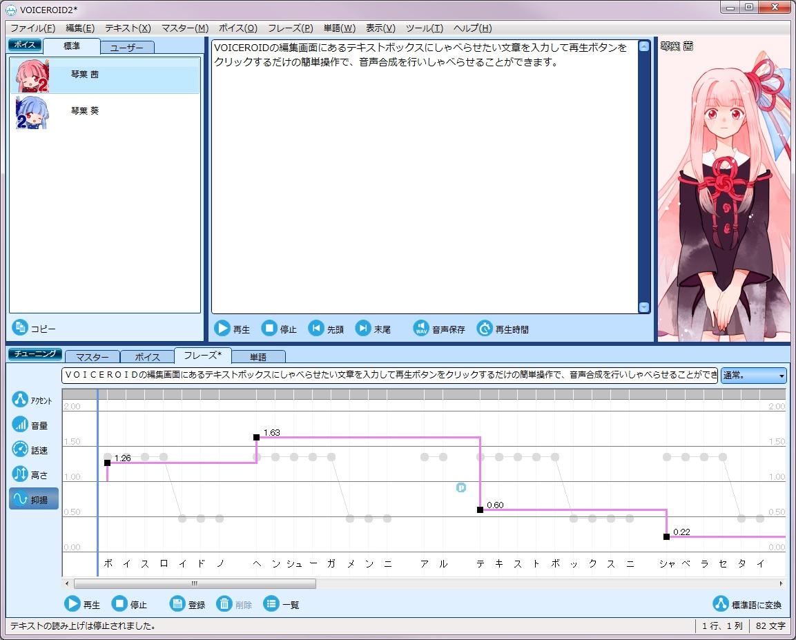 「VOICEROID2 琴葉 茜・葵」抑揚調整画面イメージ