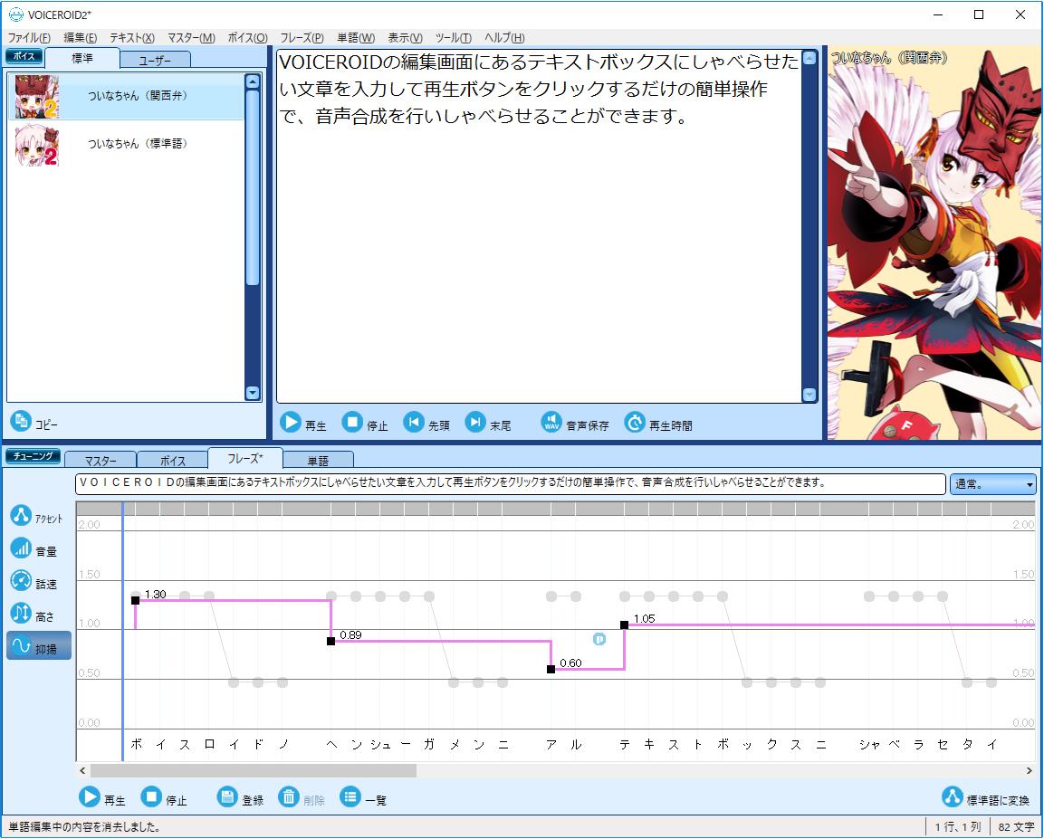 「VOICEROID2 ついなちゃん」抑揚調整画面イメージ