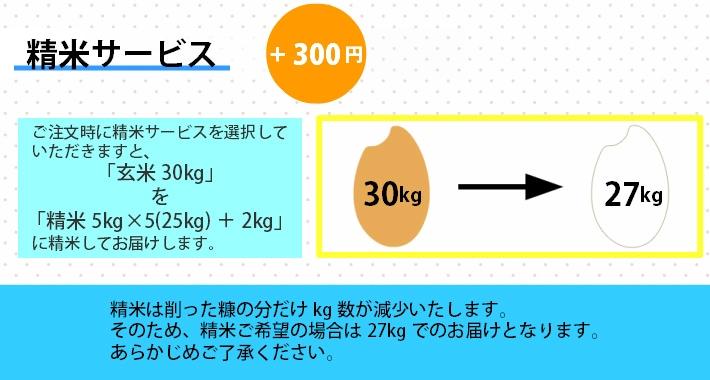 +300円で玄米を白米に精米いたします。白米は玄米を削った分だけkg数が減少します。