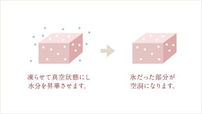 凍らせて真空状態にし水分を昇華させます。→氷だった部分が空洞になります。