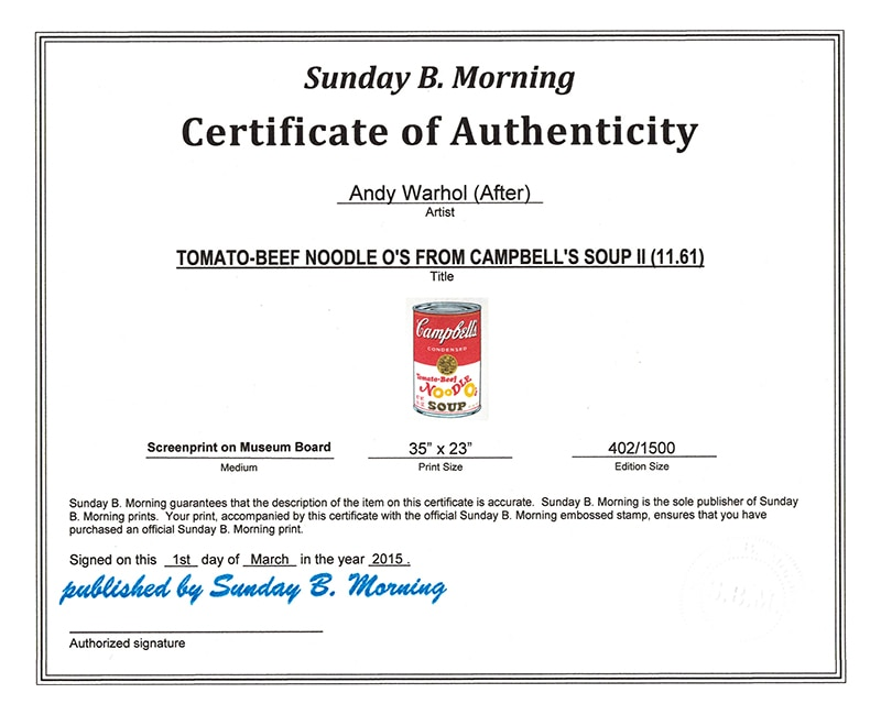 Sunday B Morning キャンベル缶� 10枚セット 各証明書