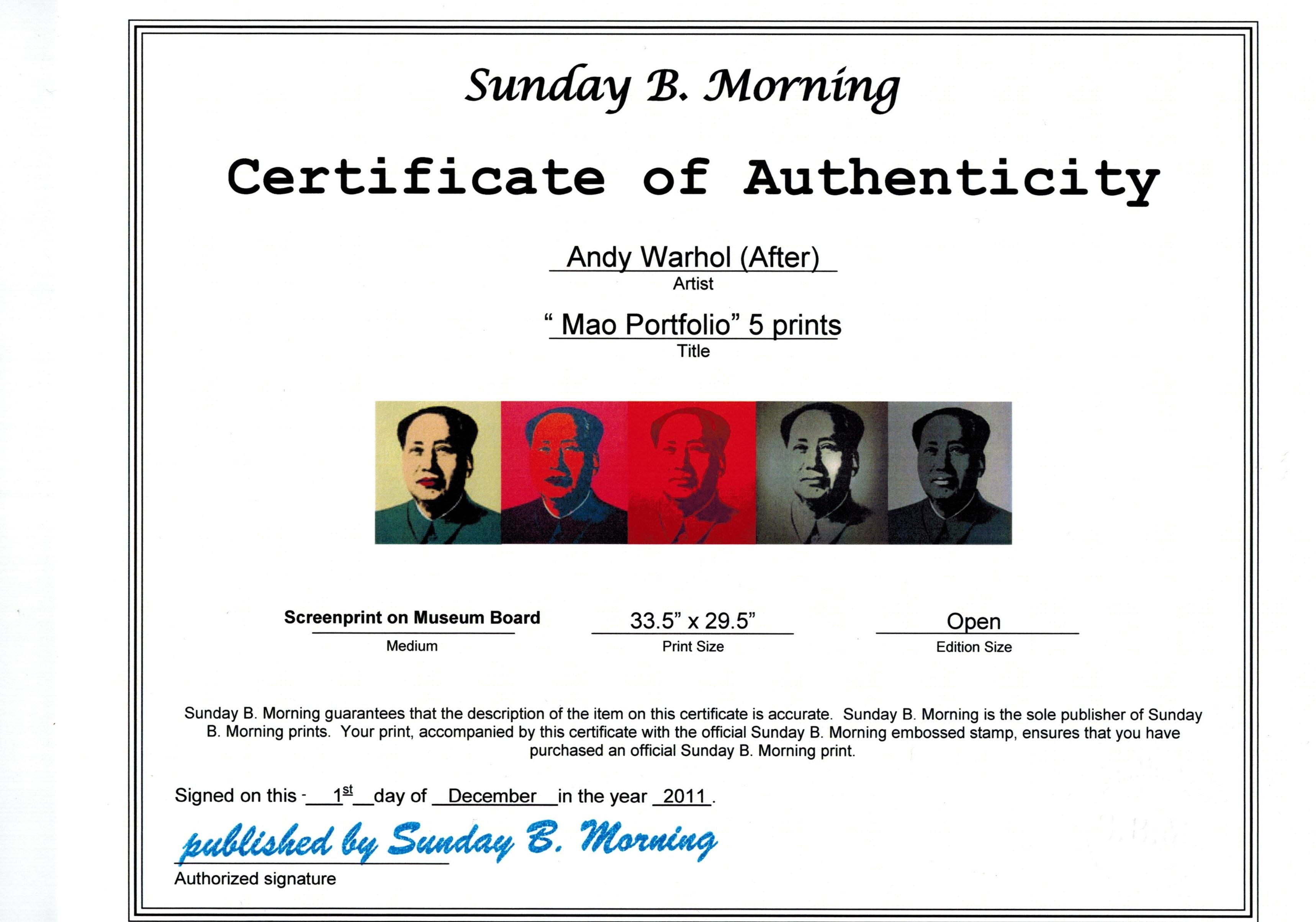 Sunday B Morning マオ(毛沢東) オープン・エディション 各証明書