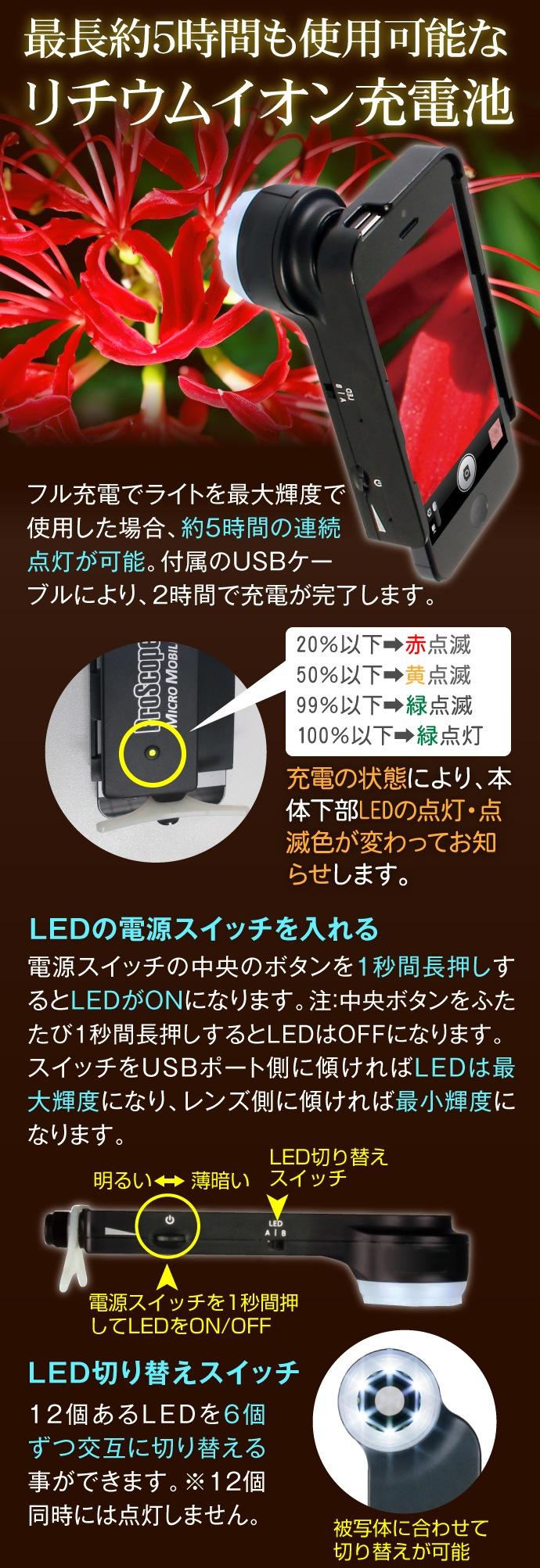 最長5時間使用可能なリチウムイオン充電池採用のiミクロン